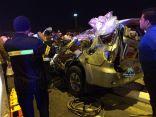 في الأحساء : بالصور .. وفاة ( 5 ) أشخاص وإصابة السادس في حادث مروري مروع