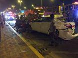 بالصور الحصرية .. إصابة خمسة أشخاص في حادث تصادم أدى لإنقلاب بـ #الأحساء
